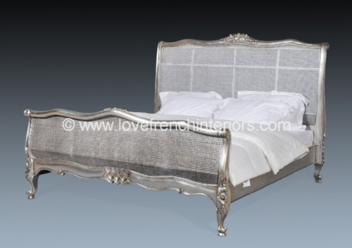 French Rattan Bed in Silver Leaf